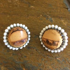 Unique Vintage Wood Clip Earrings